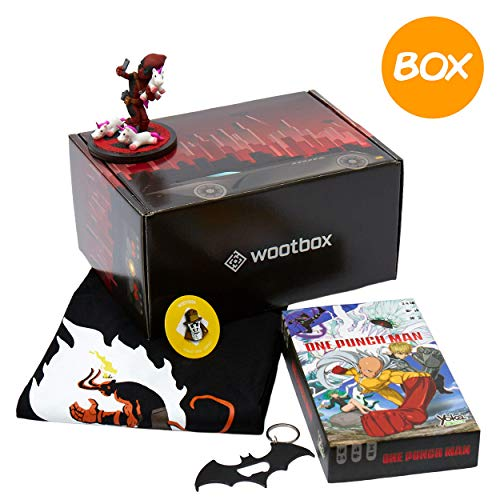 WOOTBOX- Justice - Caja de Regalo - Deadpool - One Punch Man - Batman - Talla WTB-2018-008-FR-00F-000M-000, Color Negro