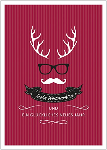 er 8er Set: Coole moderne lustige Weihnachtskarte (Klappgrußkarte | Weihnachts Gutschein | Grußkarte | Glückwunschkarte | Neujahrskarte) im