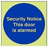 vsafety 18028at-g sicurezza avviso/Questa porta allarme è obbligatoria Cartello, Glow in Dark, 1mm, quadrato, in plastica, 200mm x 200mm, colore: blu