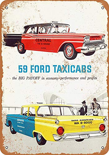 OURTrade 8 x 12 Tin Metal Sign - Vintage Look 1959 Ford Taxi Cabs - Metal Edge-poster