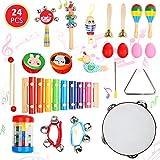 Ucradle 24 Stück Musikinstrumente Set für Kinder - Holz Instrumente Percussion Set Schlagzeug Schlagwerk, Ideale Lernspielzeug und Musikspielzeug für die Frühe Erziehung des Babys und Kleinkinder