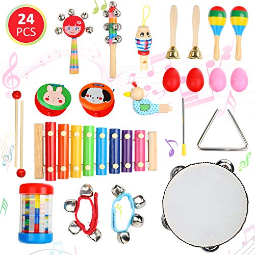 Ucradle Baby Musical Instruments, 24PCS Kids Musical Instruments Set Toy Wooden Musical Instruments Education Percussion Toys Gift Xylophone Rhythm Band Set for Babies Toddlers