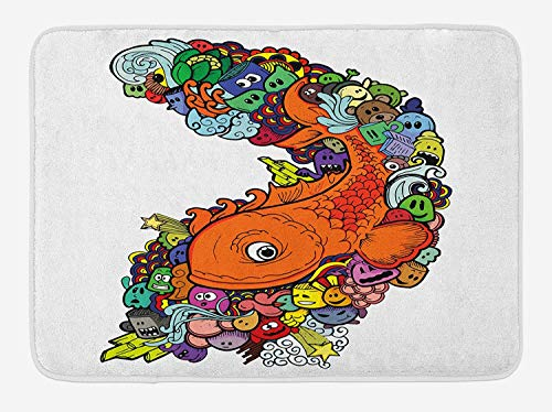 CHKWYN Fish Bath Mat, Big Fish with Bunch of Underwater Sea Creatures Animal Ocean Coral Reef Cartoon Fun, Plush Bathroom Decor Mat with Non Slip Backing, 23.6 W X 15.7 W Inches, Multicolor