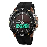 Orologio sportivo,Fashion design lega caso solare maschio orologio orologio elettronico impermeabile doppio spettacolo di luce può essere all'aperto-A