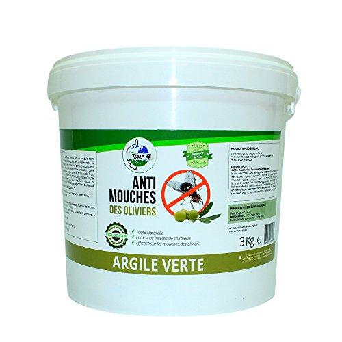 TERRA NOSTRA Argile verte Protection contre la mouche des oliviers Seau 3kg Utilisable en agriculture biologique