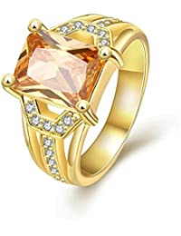 Yellow Chimes A5 Grade Crystal Sapphire Yellow 18K Gold Plated Crystal Ring for Womena and Girls
