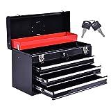 COSTWAY Werkzeugkasten leer Werkzeugkiste Werkzeugbox Werkzeugkoffer Werkzeugschrank mit 3 Schubladen Metall