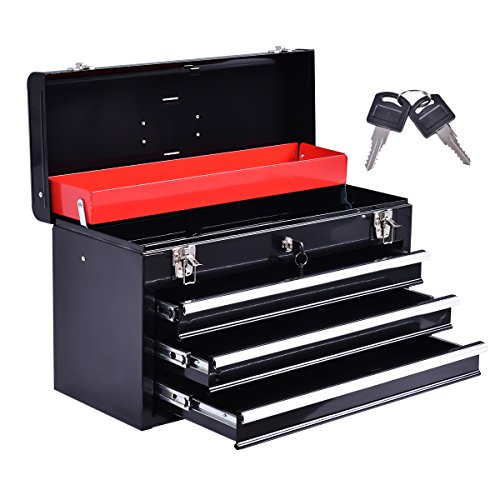 COSTWAY Werkzeugkasten leer Werkzeugkiste Werkzeugbox Werkzeugkoffer Werkzeugschrank mit 3...