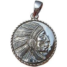 Himalayan Treasures Collar de Plata de Ley 925 Indio Americano Nativo Colgante A18