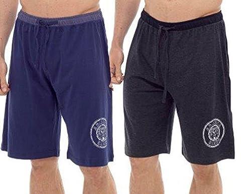 Hommes Paquet Double Shorts Salon Jersey Extensible Sommeil Vêtement De Nuit Pyjama Bas - INSIGNE Charbon marine, X-Large