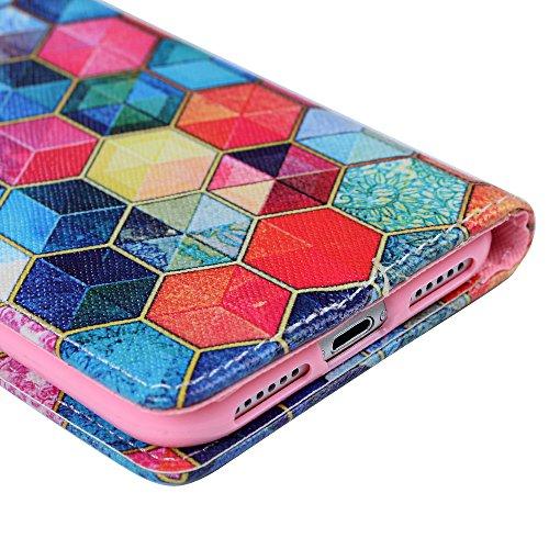 Mavis's Diary Étui iPhone 7 Coque en Cuir Chat Dessin Housse Portefeuille Fente de Carte Étui à Rabat Fermeture Magnétique Flip Phone Case Cover+Chiffon motif 3