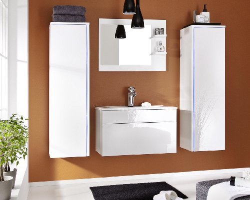 JENNY Moderno Conjunto De Muebles Para El Cuarto De Baño, Lavabo, Espejo (Blanco MAT base / Blanco AB frente, Azul LED)