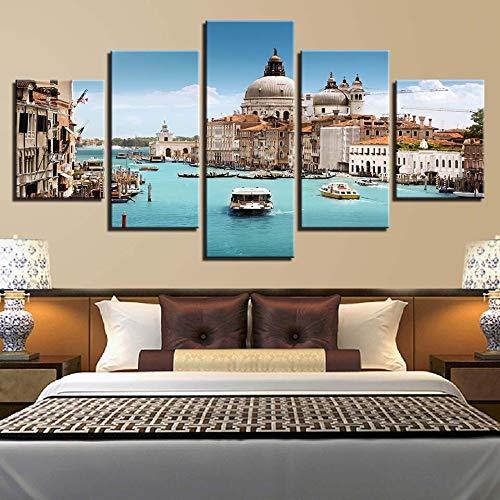 mmwin Kunstwerk Poster Leinwand HD Drucke Wohnkultur See 5 Stücke Gebäude Wandkunst Boot Für Schlafzimmer Modulare Landschaft Bilder