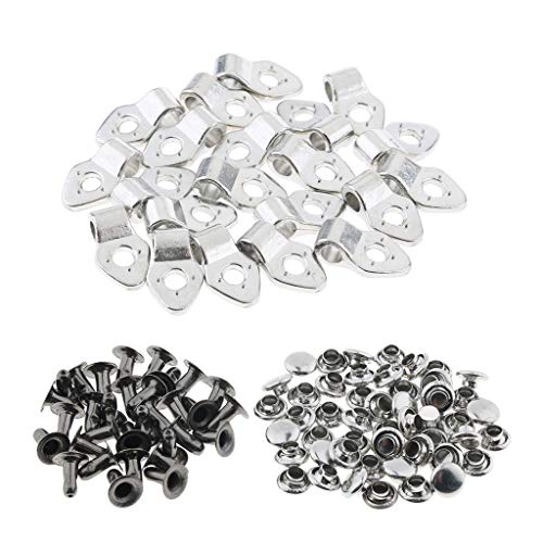 Fenteer 20 teilig Metall Schnalle Clips Kordelstopper Kordelklemme Anti-Rutsch Stopper - Weiß mit Nieten, M