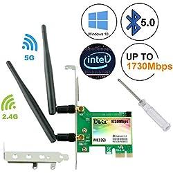 Ubit Bluetooth 5.0 AC 1730Mbps 802.11 Carte réseau WLAN Double Bande 5GHz sans Fil, pour PC Supporte WIN10 (WIE9260)