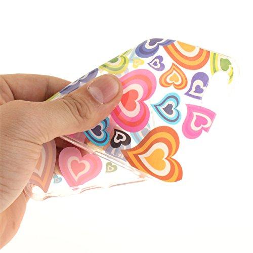 iPhone 6S Plus Hülle, iPhone 6 Plus Hülle, Gift_Source [ Blaue Traumblume ] Hülle Case Transparent Weiche Silikon Schutzhülle Handyhülle Schutzhülle Durchsichtig TPU Crystal Clear Case Backcover Bumpe E1-Buntes Herz
