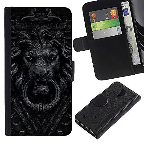 For SAMSUNG Galaxy S4 IV / i9500 / i9515 / i9505G / SGH-i337,S-type® Doorbell Lion Grey Black White Doorknob - Dessin PU cuir Wallet style Skin Cas Case Coque étui de protection