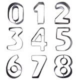 Kurtzy 9 stücke Zahlen Ausstecher - Edelstahl Ausstechformen set der Zahlen 0-9...
