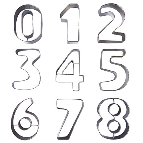 9 Keksausstecher in Zahlenform aus Metall von Kurtzy- Edelstahl-Ausstecher Set der Zahlen 0 - 9. Perfekte Formen für das Backen von Keksen u. Dekoration von Kuchen, Glasur, Fondant und Zuckerkreationen (Perfekte Form)