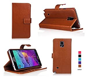 Bear Motion for Note 4 - Premium Folio Wallet Case Cover with Hard PC Inner Case for Galaxy Note 4 - Brown