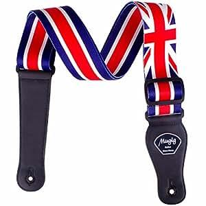Mugig Guitar Strap, Adjustable Soft Cotton Strap, Union Jack Guitar & Bass Strap National Flag Design,5cm Width with Pick Pocket (UK)