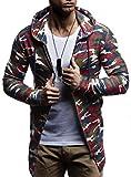 LEIF NELSON Herren Oversize Sweatjacke mit Kapuze Jacke Hoodie Hoody LN6301; Größe XL, Camouflage Rot