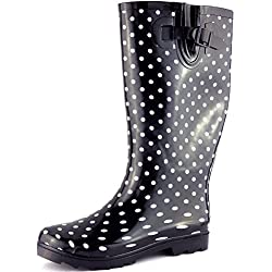 Flat Festival Wellies Knee High Rain Boots Black UK 6