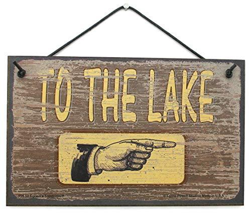 5x 8Braun Schild Vintage Style (Pointen Rechts) Sagen,to The Lake Dekorative Fun Universal Haushalts-Zeichen von Egbert 's Treasures Fun-ski Hüte