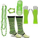 A-Express 80er Damen Neon Streifen Beinstulpen Handschuhe Halskette Shamballa Tüll Fluo Ballett Verkleidung Party Tutu Kostüm Set