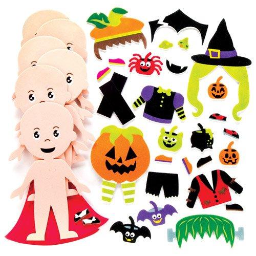 Mix & Match Magnet-Sets Halloween-Kostüme für Kinder als Bastel- und Deko-Idee Zum Gestalten zu Halloween für Jungen und Mädchen (6 Stück)