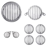 #10: Autofy Plastic Chrome Grill for Royal Enfield Bullet Classic 350 & Royal Enfield Classic 500 (Set of 8) - Royal Enfield Stealth Black, Royal Enfield Gun Metal Grey - 1 Headlight Grill 1 Tail Light Grill 2 Parking Light Grills 4 Indicator Grills- All Models