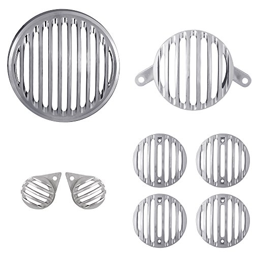 Autofy Plastic Grill for Royal Enfield Bullet Classic 350 & Bullet Classic 500 (Chrome, Set of 8)