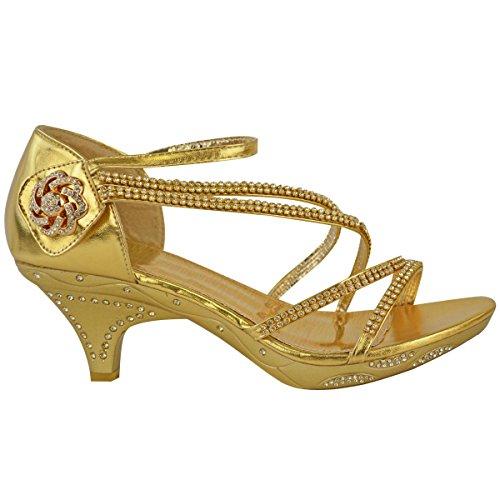 Sandales/escarpins à petit talon - brides avec brillants/strass - mariage/soirée Métallique doré / mariage