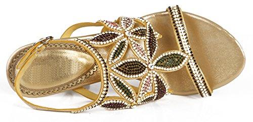 Honeystore 2017 Neuheiten Frauen Kunstleder Stöckel Absatz Blumen Sandalen Absatzschuhe mit Strass Schuhe Gold