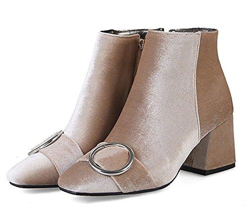 Aisun Moda Quadrata Estremità Metallo Ornamento Albicocca Di Di Stivali Donna rqp1r