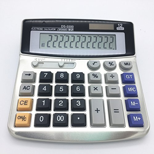 Calculatrice de bureau électronique avec 12chiffres - Grand écran, batterie ou alimentation solaire