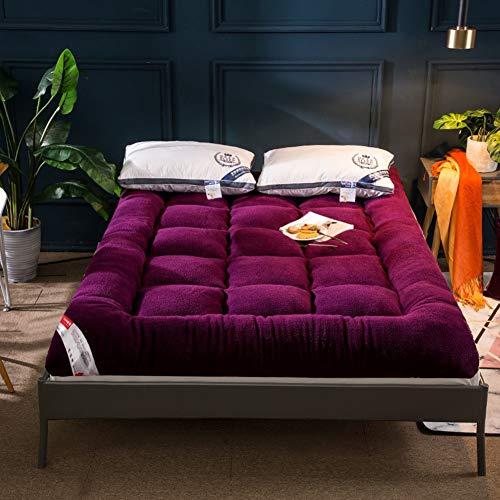 qwqqaq Plüsch Volltonfarbe Boden Matratze,verdicken Japanisch Tatamimatte Faltbar Matratze Matratzenauflagen Gesteppte Zu Schlafzimmer Hotel T 90x200x10cm(35x79x4inch)