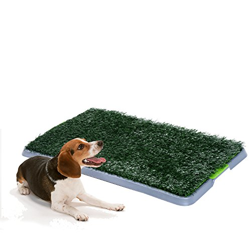 Pawhut Indoor Dog Toilet Puppy Cat Pet Training Mat Potty Tray Grass Restroom Portable (43L x 68W x 3T (cm))