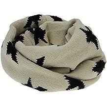 Snood - Braga de cuello o pasamontañas infantil, punto suave y cálido, diseño sencillo de estrellas, para niños de 1,5 a 8 años, para invierno o como regalo de Navidad, beige