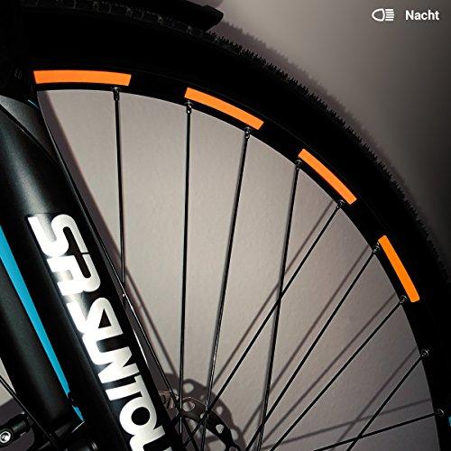 Motoking Fahrrad-Reflektorenaufkleber - Orange - 26 Aufkleber im Set - Breite: 7 mm - reflektierende Felgenaufkleber für Trekkingbike-, Fahrradfelgen & mehr