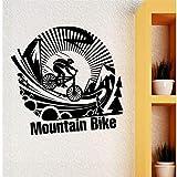 Syssyj Abnehmbare Vinyl Wandaufkleber Mountainbike Extreme Sport Wandtattoo Extreme Sport Kunst Fahrrad Poster Jungen Zimmer Wand-Dekor 42 * 40 Cm