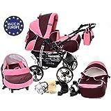 Baby Sportive - Sistema de viaje 3 en 1, silla de paseo, carrito con capazo y silla de coche, RUEDAS ESTÁTICAS y accesorios, color granate, rosa