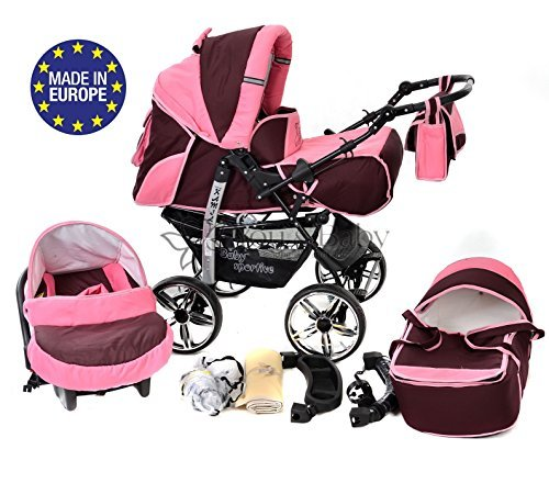 Baby Sportive - Passeggino 3-in-1 da viaggio con seggiolino auto e accessori, colore: Rosso scuro/Rosa
