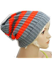 Slouch Beanie Long Mütze, Feinstrick Neon-Orange