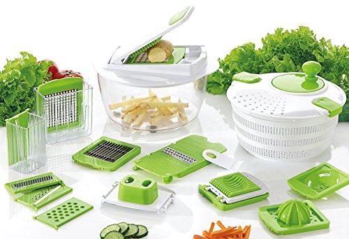 Verduras de chef–Centrifugador de ensalada–Mandolina–Cebolla, hortalizas, frutas y queso picadora–Dados, Slice y cuchilla para ensaladas, sopas, guisado y más–libre pelador y eBook de recetas por correo a usted