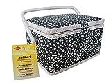 Kleiber + Co, 91901 macchina da cucire - cestino piccolo rettangolare cestino legno/Tessuto 24,5 x 18 x 15 cm, Nero