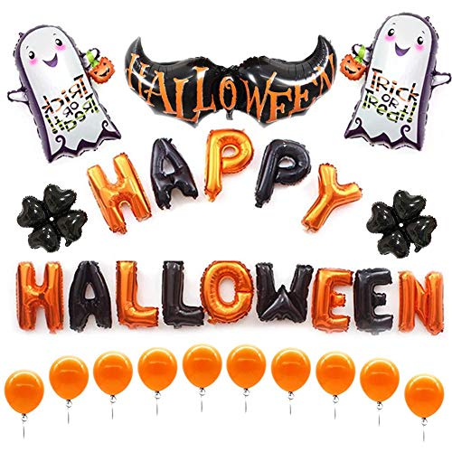 wangwtry Halloween Balloon Set Letter Ghost Banner Balloons Halloween Themed Party Decoration Latex Balloons for Trick,Scary,Fun