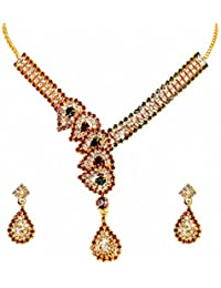 Traditional Gold Plated Necklace Set For Women - Gold Plated Jewellery Set With Earrings For Women By FreshVibes