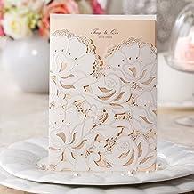 Invitaciones Vstoy de cartulina para fiestas con diseño de flores, marfil, tarjetas elegantes, invitaciones para boda cortadas con láser, con sello y sobres. 20 piezas