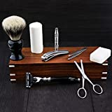 Haryali London Rasier-Set, Gillette Mach 3 Rasierer, Dachshaar-Pinsel, Rasiercreme, Alaun-Block etc